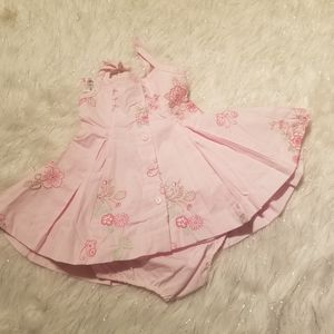 Summer rainbow infant dress embroidered flowers